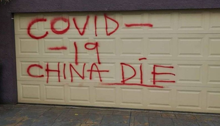 "Racist graffiti: ""COVID-19 China Die"" spray painted on the garage of a Chinese family in Melbourne."