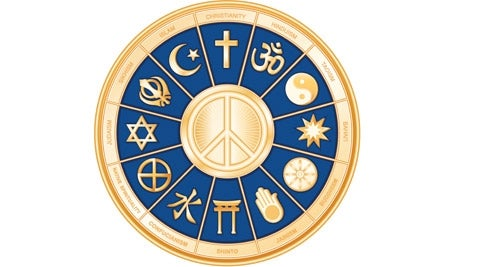 Peace dove surrounded by symbols of world religions