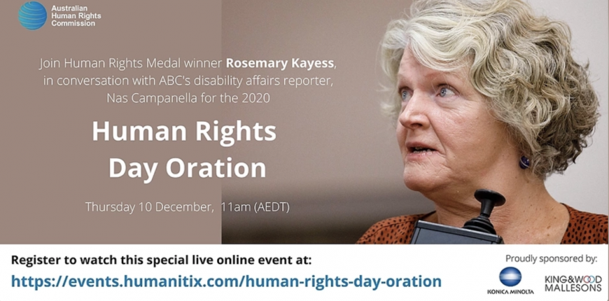 Human Rights Medallist Rosemary Kayess will give this year's oration