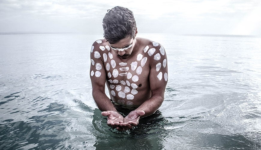 :	The	Fighting	Gunditjmara	Warrior.	Photograph	by	Tim	Kanoa	(2014).