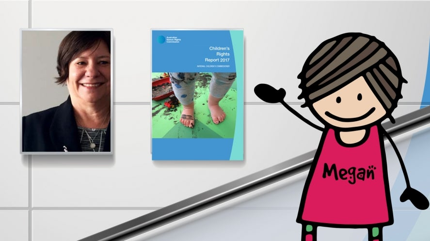 Children's Rights Reports - Megan Mitchell and her cartoon figure with cover of the report