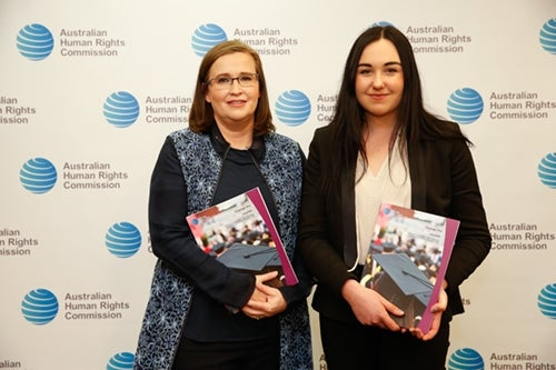Federal Sex Discrimination Commissioner Kate Jenkins and NUS National President Sophie Johnston holding copies of the report