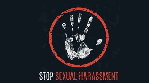 stop sexual harassment - hand print in circle