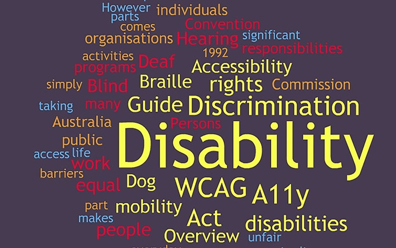 Collage of disability rights words, taken from the Know Your Rights publication