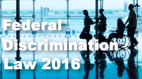 Federal Discrimination Law 2016: People in an airport including a person using a wheelchair