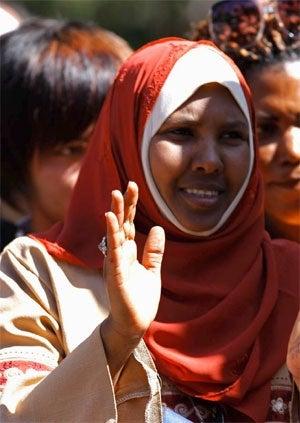 African Australian muslim woman in headscarf