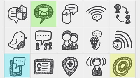 Doodle drawings of communications technologies, computer, tablet, email etc