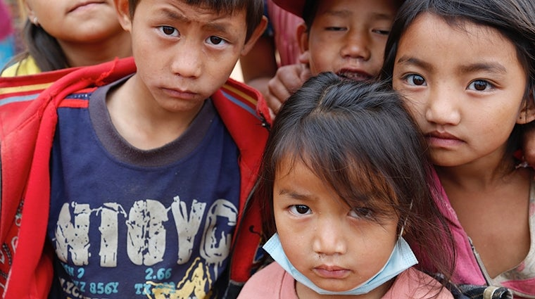 Nepalese children after the earthquake in 2015 - Photo by UK DFID https://www.flickr.com/photos/dfid/17127462789