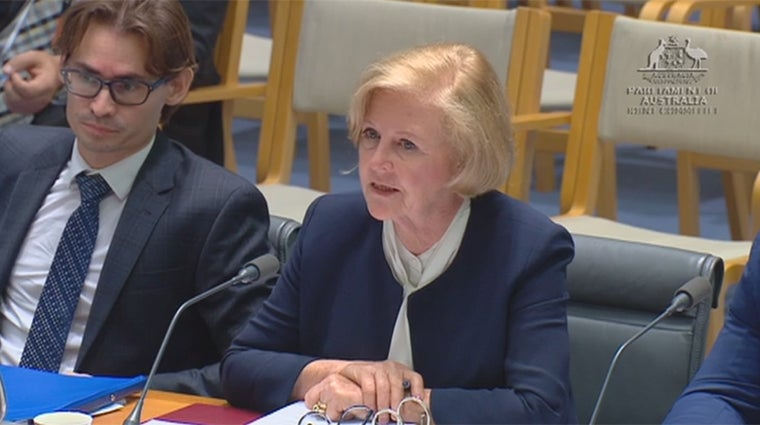 Gillian Triggs and Commission legal officer at Senate Inquiry