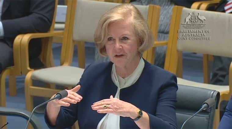 Gillian Triggs at Free Speech Inquiry - image courtesy APH