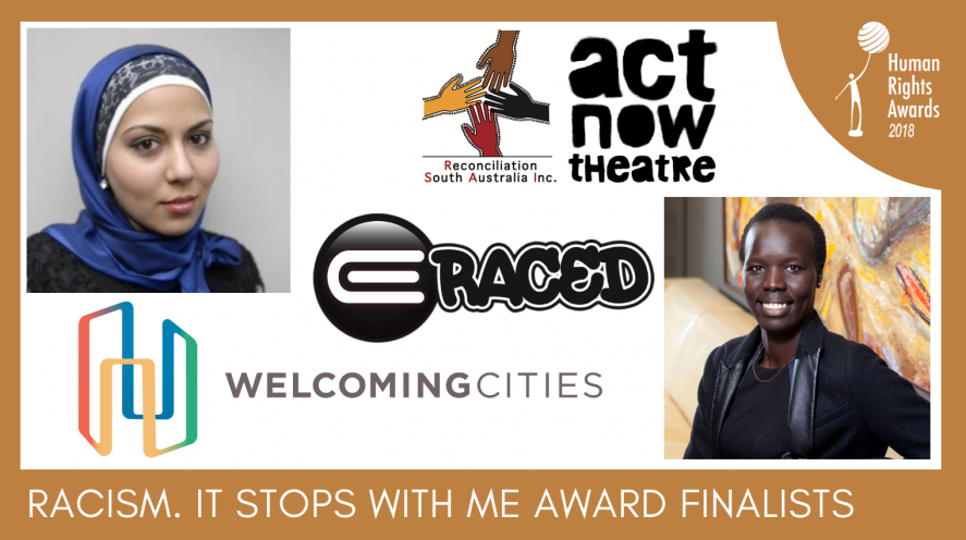 Composite of Racism. It Stops With Me Award finalist photos and logos
