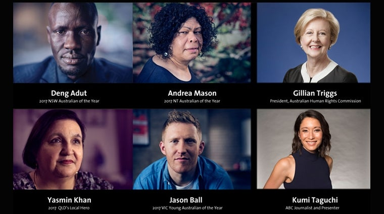 Australians Of The Year - Inspiring Change In Human Rights - 6 speakers: Deng Adut, Andrea Mason, Gillian Triggs, Yasmin Khan, Jason Ball, Kumi Taguchi