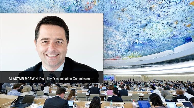 Inset: Alastair McEwin, background - UN at Geneva