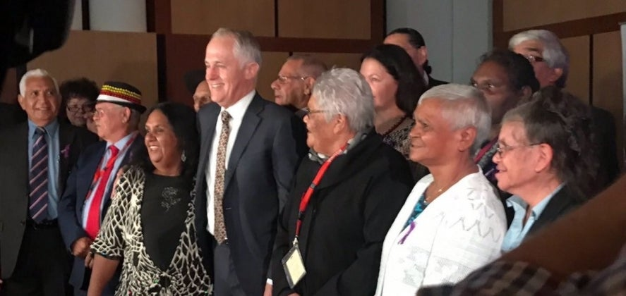 Prime Minister Malcolm Turnbull with members of the Stolen Generations