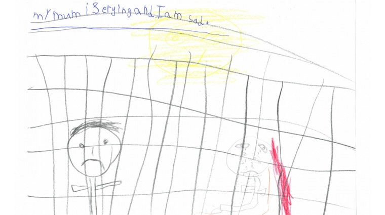 Mummy is crying and I am sad. Drawing by child in immigration detention in Australia, 2014