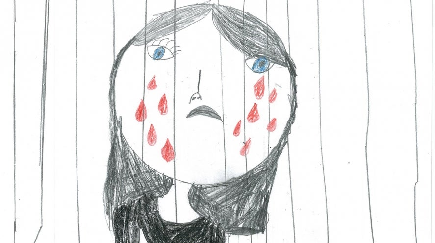 Girl crying - drawing by child in immigration detention