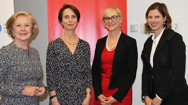 Launch of Federal Discrimination Law 2016: Prof. Gillian Triggs, Hon. Justice Melissa Perry, LexisNexis Managing Director Joanne Beckett, Julie O'Brien AHRC Director Legal