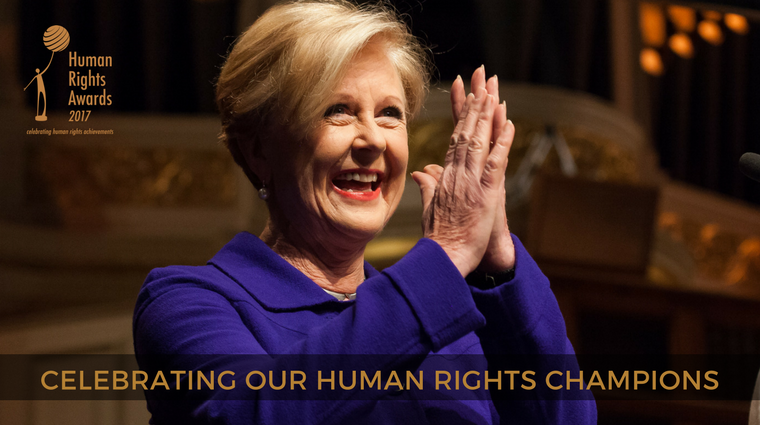 Photo of Gillian Triggs with text Celebrating our human rights champions""