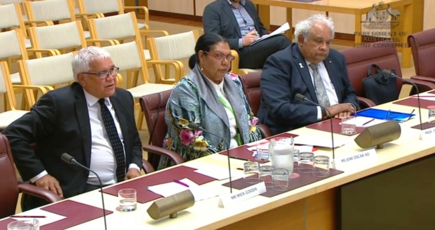 Commissioner June Oscar AO with Prof Tom Calma and Mick Gooda
