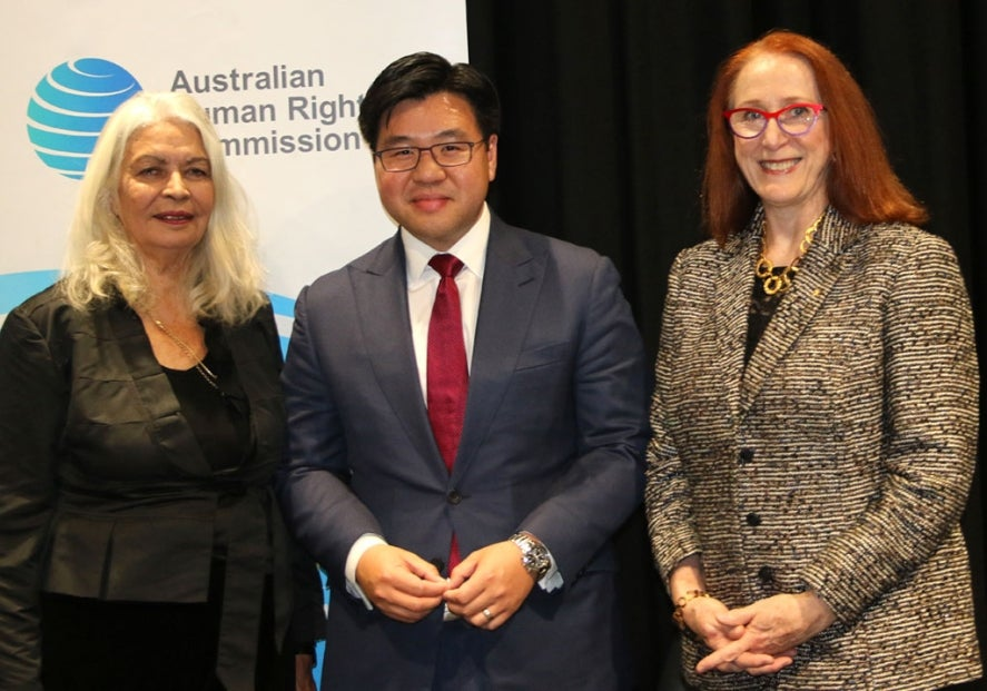 Marcia Langton,Tim Soutphommasane, and Rosalind Croucher at Kep Enderby Memorial Lecture 2018.