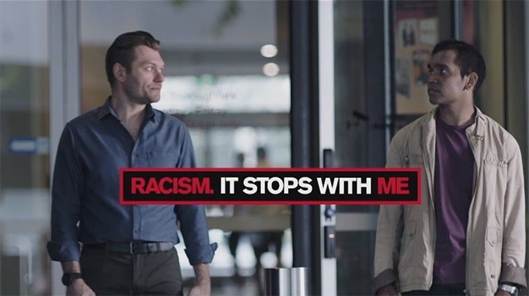 Still of video from Commission's 'taxi stand' video from the Racism. It Stops With Me campaign