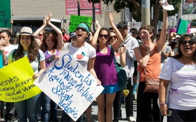Image of students protesting sexual assault on campus. Image credit: Steve Rhodes (Flickr)