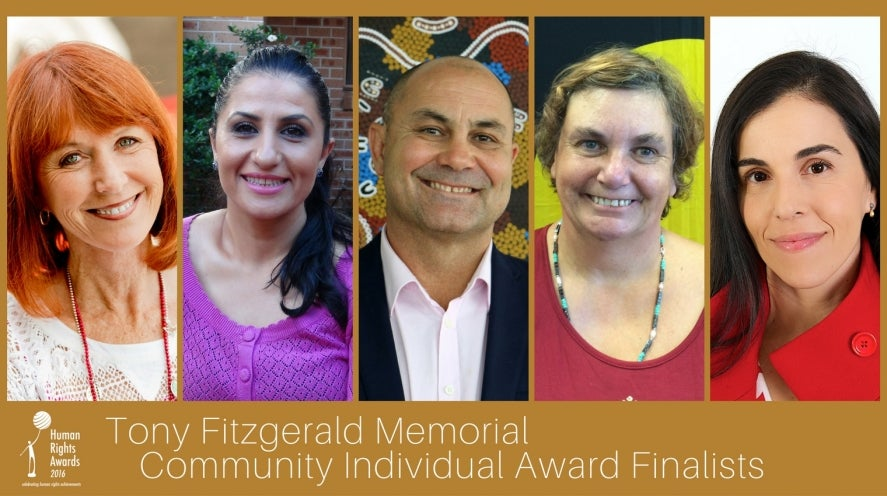 Tony Fitzgerald Memorial Award finalists 2016: Susan Barton, Yassmen Yahya, Shane Duffy, Jane Rosengrave, Catia Malaquias