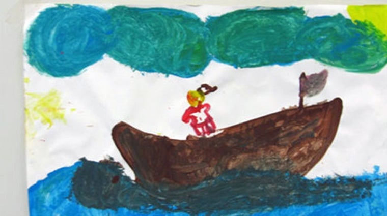 Photo: drawing of asylum seeker boat by child in Immigration Detention