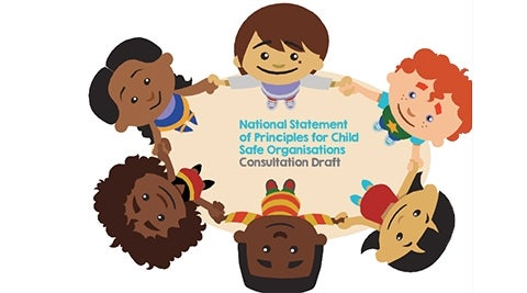 National Statement of Principles for Child Safe Organisations - cartoon of six children holding hands