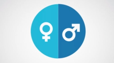 Female and Male symbol in circle