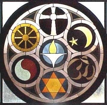 Photo: Stained glass representing many religions, Christianity, Taoism, Hindu, Buddhist, Judaism, Islam