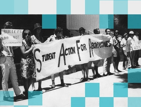 Students holding Student Action for Aborigines banner