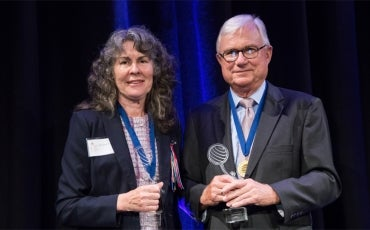 Chrissie Foster and Justice Peter McClellan, winners of the 2018 Human Rights Medal