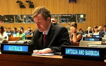 Dr Ben Gauntlett at the UN