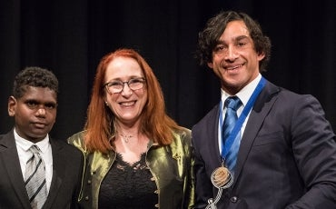 Rosalind Croucher, Johnathan Thurston winning 2017 Human Rights Medal and friend