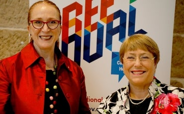 Rosalind Croucher and Michelle Bachelet