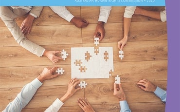 Respect@work cover image - people assembling a jigsaw at a work situation