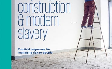 Man on tall ladder fitting light - Property Construction & Modern Slavery Cover