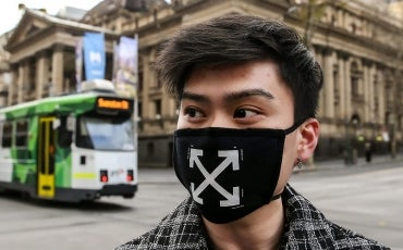 Man in melbourne with designer facemask
