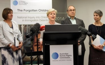 Gillian Triggs and medical experts at launch of Forgotten Children Report, 12 Feb 2015