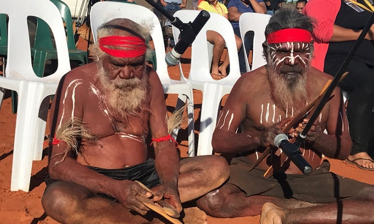 Anangu elders perform at the Closing Ceremony, Uluru Statement of the Heart