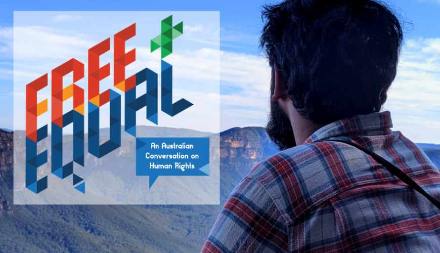 'Free and Equal' logo on top of a photo of a man looking out at mountains