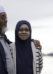 Muslim couple on the beach