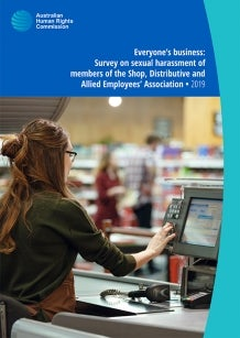 Cover of SDA report, woman working a till in a store
