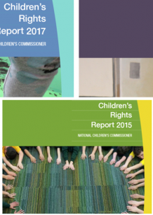 A compilation of the front covers of the Children's Rights Reports 2013-2017