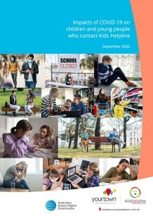Collage of Children and cover of Impacts of COVID-19 on children and young people who contact Kids Helpline