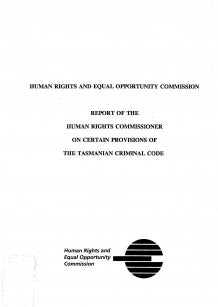 Cover of Report of the Human Rights Commissioner on certain provisions of the Tasmanian Criminal Code