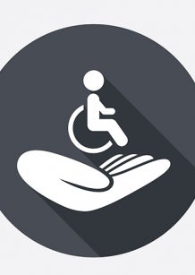 Grey wheelchair icon and hand