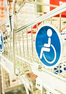 Stock photo of disability access shopping trolley